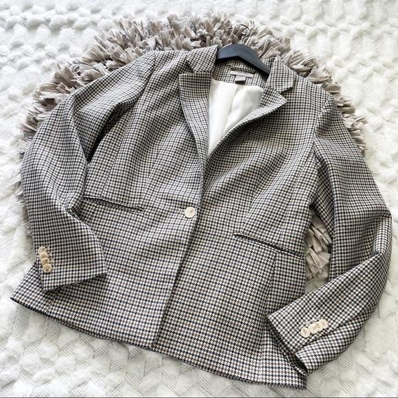 H&M Brown Houndstooth Single Button Blazer